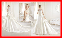 Fast Shipping Custom Made New Arrival 2014 Sexy Long Court Train Lace Girl Formal Fashion Formal Girls Zipper Back Wedding Dress