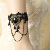 2014 Women Ladies Handmade Flower Black Lace Beads Drop Arm Band Armband Armlet Bracelet Gothic Dance Vintage Fashion Jewelry