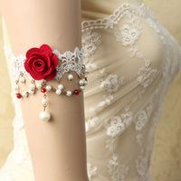 2014 Women Handmade Red Flower Rose White Lace Beads Drop Arm Band Armband Armlet Bracelet Bridal Dance Wedding Fashion Jewelry