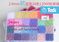 1sets High quality soft 2.6mm hama beads perler beads plastick set 24 colors /box  1set=12000pcs