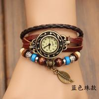 Hot Sale Womens Fashion Bracelet  Vintage Anchors Rudder Rectangle Leather Bracelet Multilaye Free shipping