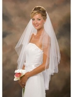 Hot Sale 2012 In Stock Two Layers White Ivory Veils Comb Wedding Veil Bridal Accessory