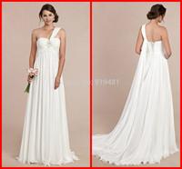 Free Shipping Custom Made Hot Sale 2014 Sexy Sweetheart Backless Long Chiffon Beads Summer Beach Formal Wedding Dress Gowns