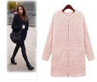 S - XXXXXL Winter Women Fashion Blends Coats Warm Plush Cloth Coat Large Size Female Woolen Coat Solid Outwear Large Size