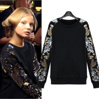 Women fashion sweater 2014 spring and autumn sequined Punk Style stylish jersey hoody BM-071