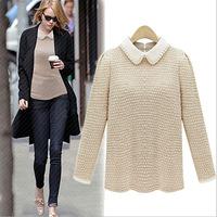 women sweater European and American fashion 2014 autumn new women lapel solid backing BM-067