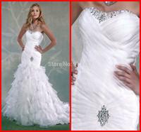 Custom Made New Design Wholesale Cheap 2014 Sexy Sweetheart Backless Mermaid Ruffles Girls Long Formal Wedding Bridal Dress Gown