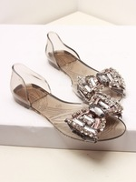 2014 Melissa jelly shoes rhinestone open toe bow transparent crystal sandals shoes  rhinestone e bow jelly flat open toe sandals