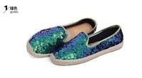 Birdthree super fashion glitter shoes women fashion canvas shoes ladies flat shoes mocassim feminino