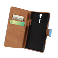 For  Sony Xperia S Lt26i Flip Genuine Leather Wallet Style Credit Card holder Stand Case Cover, Drop 11 Colors