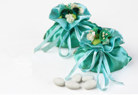 Wholesal Little pudding light green blue satin wedding candy bag with bouquet Floral wedding accessories party favor jewelry bag