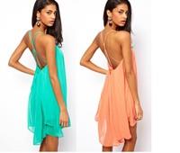 Hot Sexy spaghetti strap back metal buckle cross cutout solid color summer Beach Dresses Women Chiffon one-piece dress