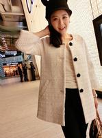 2014 New O-neck single breasted women fashion wool coat jacket Winter Autumn outerwear white S M