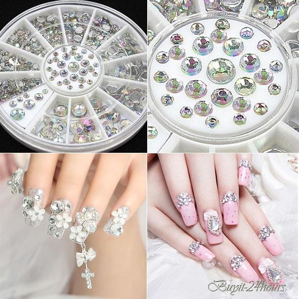 Rhinestone decoration nail art tips acrylic crystal for 3d acrylic nail art decoration