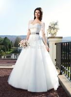 2014 Seconds Kill Sweetheart Zipper Vestido Vestidos De Novia Honey Tube Top Wedding Dress Belt Slim Train Gown Customizebridalk