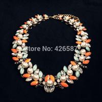 New design high quality 2014 fashion ZA jewelry colourful pearl rhinestone flower bib statement necklace for women