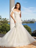 2014 Top Fashion New Vestidos De Novia Bridal Gown Slit Neckline Slim Mermaid Wedding Dress Straps Train Bride Dressbridalk