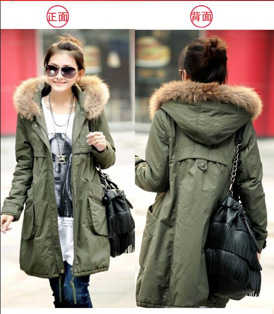 2014 new Women's Cotton-padded Jacket Eiderdown cotton lining fur collar Large Long Coat Thickening Clothing free shipping(China (Mainland))