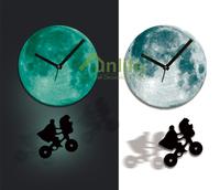 Funlife Exclusive ET Alien Swing on Moon Pendulum Night Fashion Beautiful Glowing Clock Room Decor wcBD0015