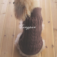 NEW Free Shipping BROWN CLASSIC DOG PET ROLL-NECK SWEATER COAT CLOTHES ARAN KNIT SOFT COZY