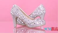 2014 women's fashion high heels pumps female white Rhinestone wedding shoes sy-533