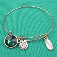 """Alex and Ani style  Green crystal bead """"hand made""""  Charm Bead Bangles Silver Plated Alloy Charm Bracelets and Bangles"""