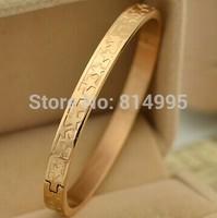 14k rose gold  plated  titanium steel 5 stars round bangles