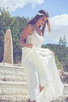 Sexy v-neck backless beach wedding dress custom All size
