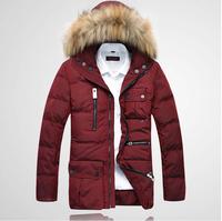 2014 Brand Fur cap  hooded warm men down Jacket Duck  Down Parkas Male fur  men's down parkas warm jacket overcoat