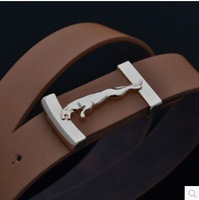 2014 New  fashion  brand men leather belt smooth metal buckle for men luxury leather waist belts