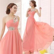 Elegant Brief Dress One Shoulder Cheap Coral Bridesmaids Dresses Long Wedding Party Dress 2014 New Simple Dress For Bridesmaids(China (Mainland))