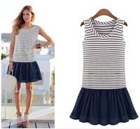 2015 New Fashion Women Brand Striped Dresses Lady O-Neck Sleeveless Patchwork Mini Dress Casual Vestidos Plus Size