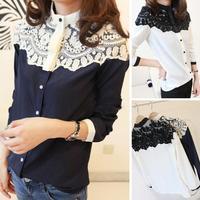 2015 New Style Women Lace Blouse Shirts Chiffon Blouse Shirt Long Sleeve Blouse Clothing