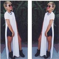 S M LNew 2014 Novelty Loose Women Dress Short Sleeve O-Neck Side Splits Solid Maxi Dress Summer Casual Women Clothes Black&White