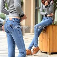 Women 2014 Autumn Fashion Mid Waistline Slim Pencil Pants Skinny Full Length Jean Pants Blue