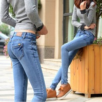 Women 2014 Autumn Fashion Mid Waistline Slim Pencil Pants Skinny Full Length Jean Pants Blue