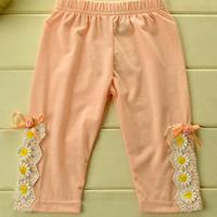 Momo - Wholesale Girls cotton leggings 2014 spring new Korean  children's flower leggings,5pcs/lot Free Ship