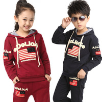 Free shipping 2014 Spring Autumn Girls Boys Children Clothing Sets American Flag with a Hood for 105~165cm for Kids Sports Suits