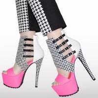 2014 cutout ultra high heels platform t colorant match open toe sandals