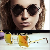 2014 style round box square lens fashion vintage sunglasses star style sun-shading mirror