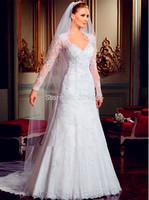 Free Shipping White 2014 Open Back A-line V-neck Long Sleeve Lace Beading Luxury Wedding Dress vestidos de novia New Arrival