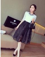 New 2014 Summer Euro Brand Fashion Chiffon Lace Skirts womens skirt High Waist High Quality Ball gown Skirts Free Shipping 822