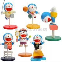 6pcs/set Japanese Anime Cartoon Doraemon Sporting PVC Model Toys Figure Christmas Gifts For Kids  1296008606    201408H