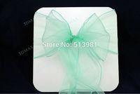 new brand 50 PCS Mint  Wedding Organza Chair Cover Sashes Sash Party Banquet Decor Bow Mint Green Colour