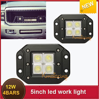 Package Mail  Off Road 12W 4x3LEDS 5'' Flood Beam Driving light Bar 4wd  Led Cree lamp  Boat Offroad Car Truck light