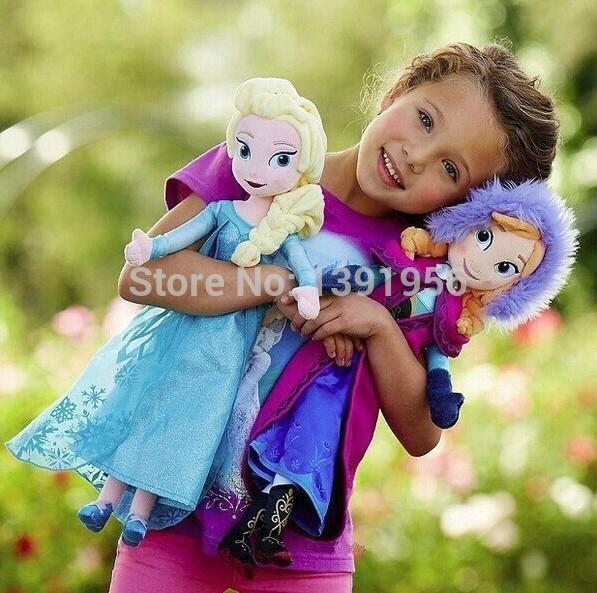 """2014 neue original gefroren elsa anna plüschpuppe 50cm 19.7"""" prinzessin puppe gefroren plüsch spielzeug auf lager brinquedos kinder puppen für mädchen"""