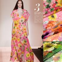 Retail&Wholesale European Style Floral Print 100%Silk Chiffon Fabric  135CM*100CM  6Mommie  3Colors