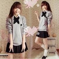 5 Pieces Set British Style School Uniform Best Japanese Cosplay Uniform Girl's Student Uniform Sweater Shirt Bow-tie Skirt Socks