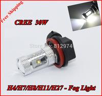 Free Shipping 2pcs X 30W CREE XBD-R5 High power Fog Light LED Replacement Bulbs H4/H7/H8/H11/H27