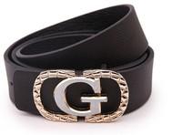 2014 European Women's Unisex Fashion Wild Luxury Gold Letter Buckle PU Leather Belt Male Wild Brand Alloy Buckle Leather Belts